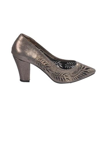 Mhd 006 Platin Kadın Topuklu Ayakkabı Gümüş